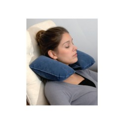 Inflatable travel neck pillow with velvet lining AC-716